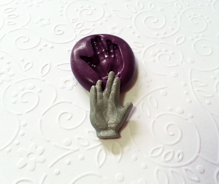 Miniature Star Trek Hand Sign Silicone Mold 22mm Pmc
