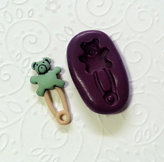 Miniature Baby Bear Safety Pin Silicone Mold 27mm Cake