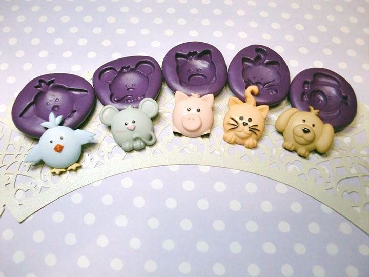 Cute Animal Face Chibi Silicone Molds Bird Mouse Cat