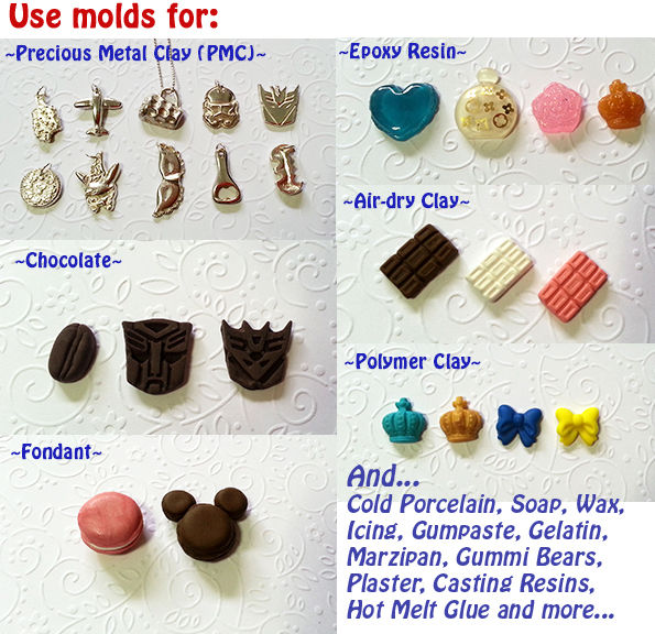 food use SILICONE MOULD - clay HEART resin polymer mold sugarcraft fimo