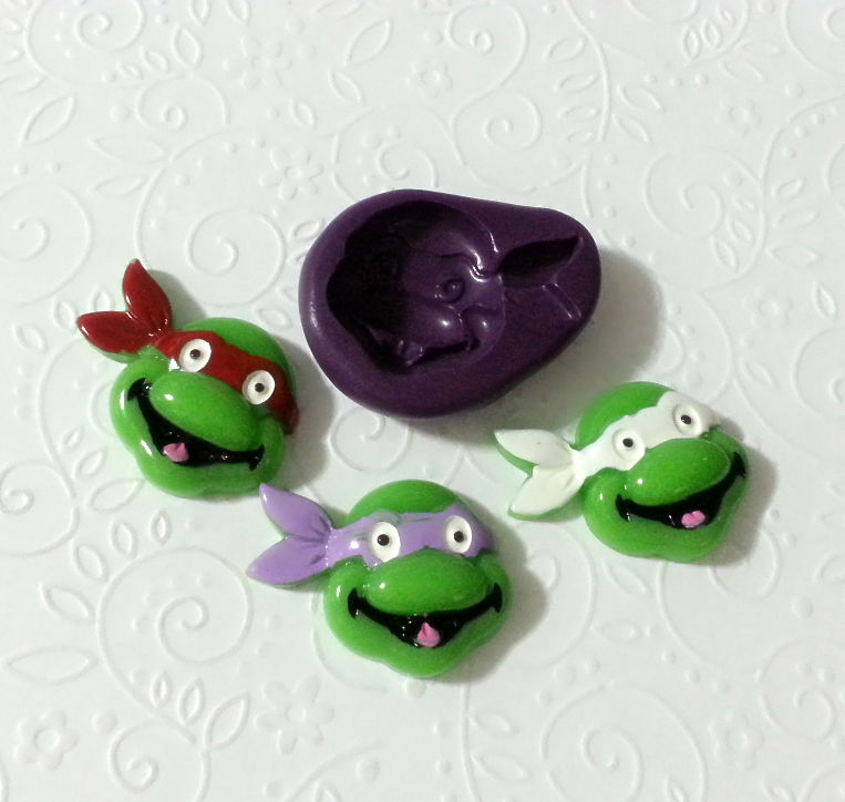 Silicone Mold Ninja Turtle Mould (32mm) Cake Topper Gum Paste Chocolate  Candy